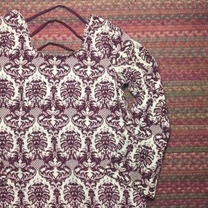 MAROON DAMASK PATTERN TUNIC
